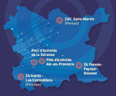Les Zones d'Activités éligibles à l'offre CECA